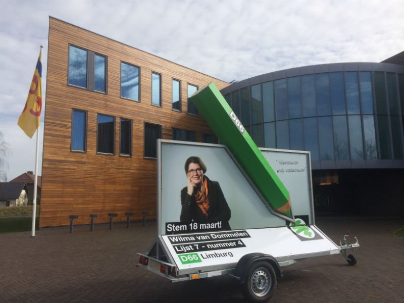 D66 promotie aanhanger XL potlood dutchlite